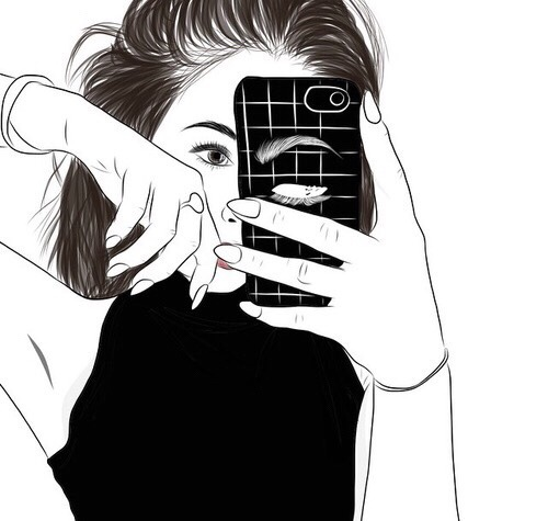 Drawn selfie outlines tumblr AND Pinterest WHITE outlines BLACK