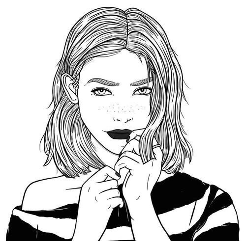 Drawn selfie outlines tumblr Para Tumblr Drawings illustration and