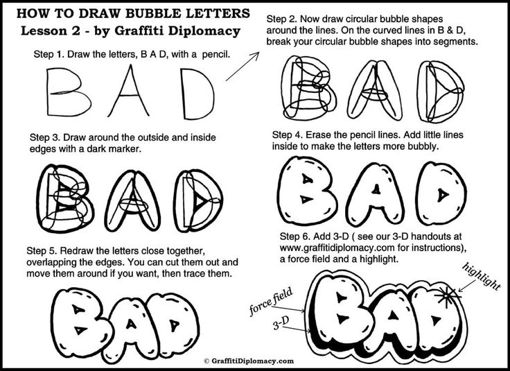 Drawn shapes closed How method Cartoon draw Bubble