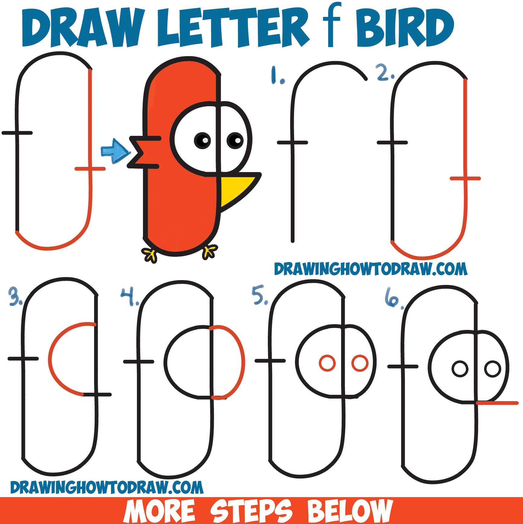 Drawn shapes easy drawing Cartoon Lowercase Lowercase to Step