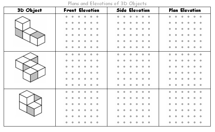 Drawn shapes Shapes views for worksheets isometric