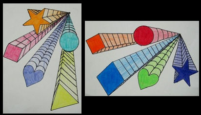 Drawn shapes perspective drawing Kids large then the drawing