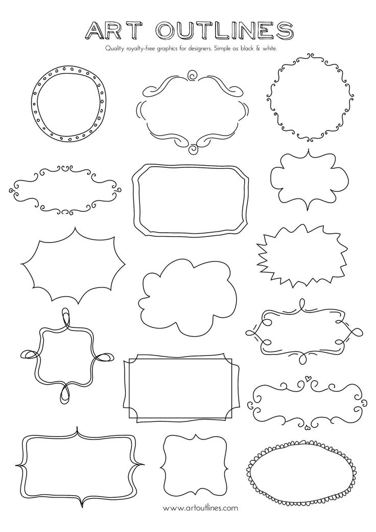 Drawn shapes picture frame Set of and Shapes Drawn