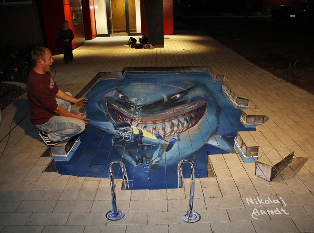 Drawn shark 3d street art Arndt [20 Nikolaj Arndt Pics]