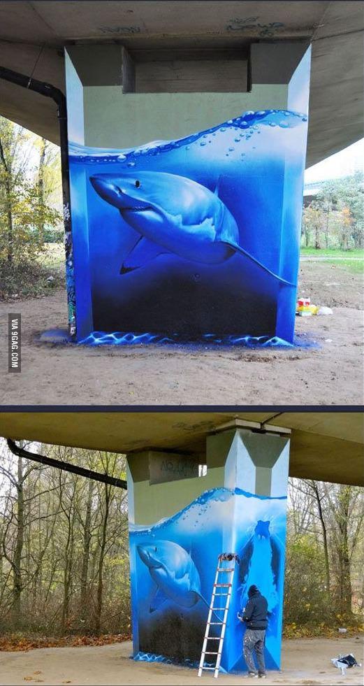 Drawn shark 3d street art Art Sharks and Art Shark