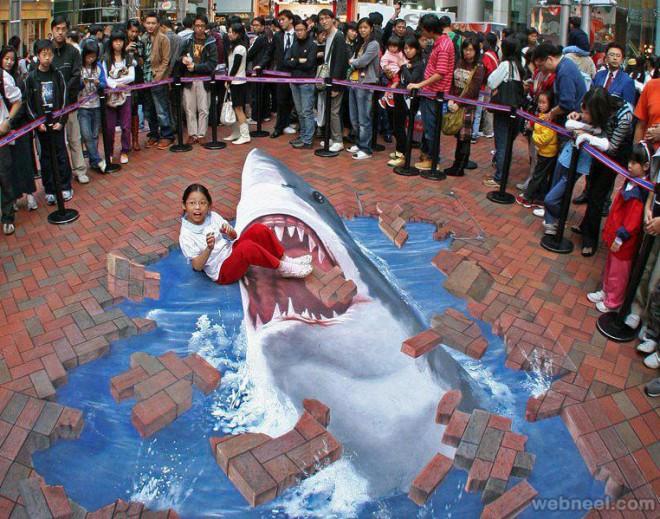 Drawn shark 3d street art From the shark 3d art