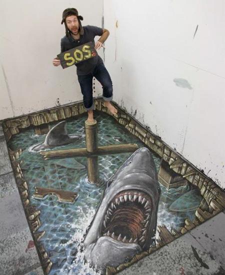 Drawn shark 3d street art Art and Chalk 3D Creative