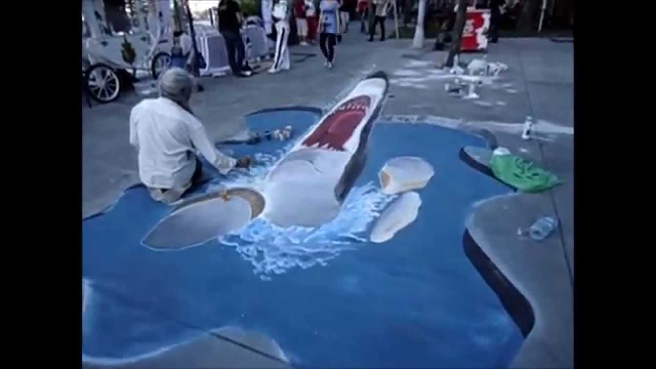 Drawn shark 3d street art 3d street picture 3d painting