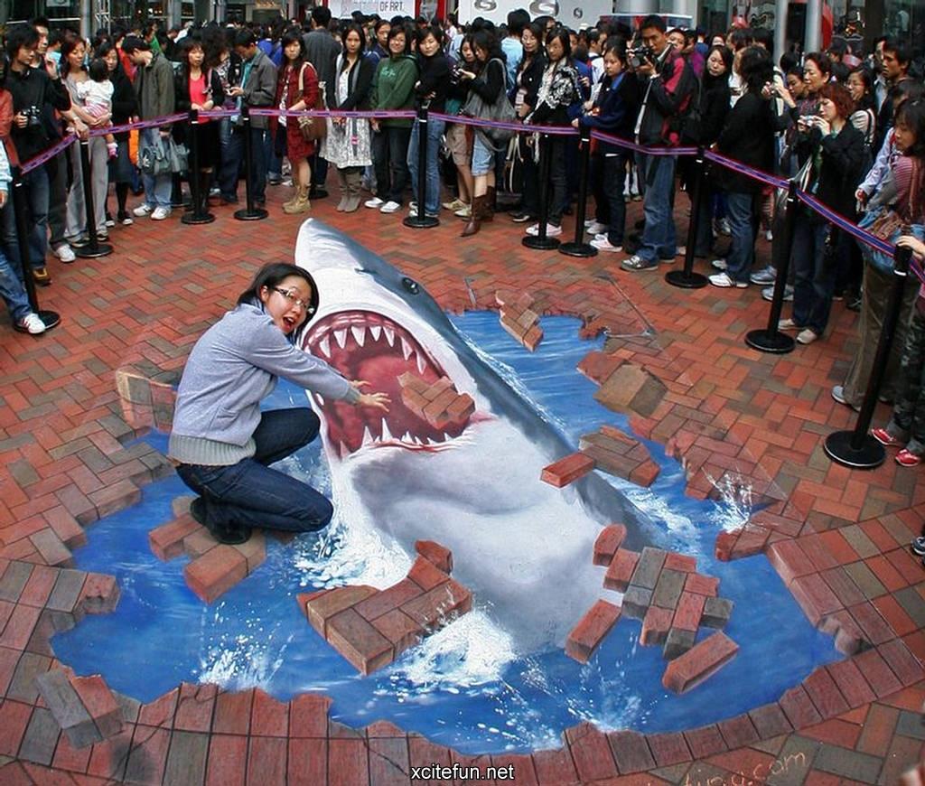 Drawn shark 3d street art Amazing Pastel 3D Drawings 3D