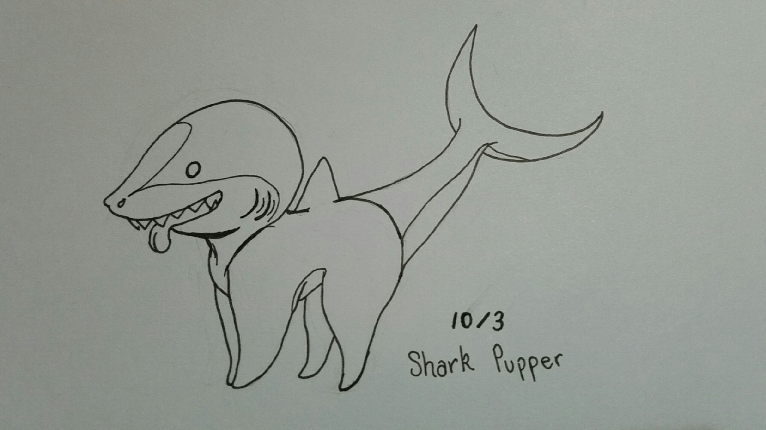 Drawn shark 3rd Late But doing my pupper