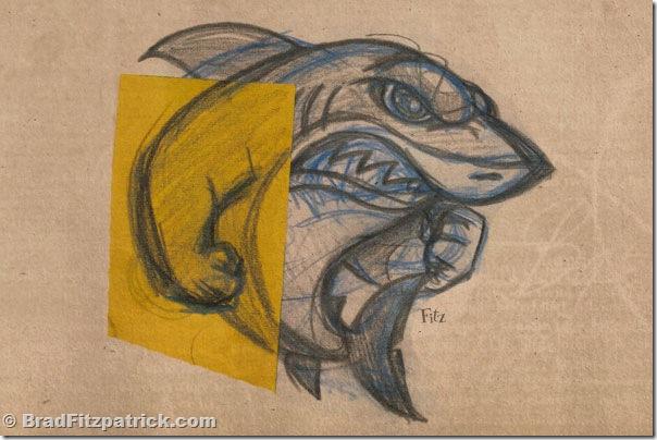 Drawn shark comic  Shark Drawing