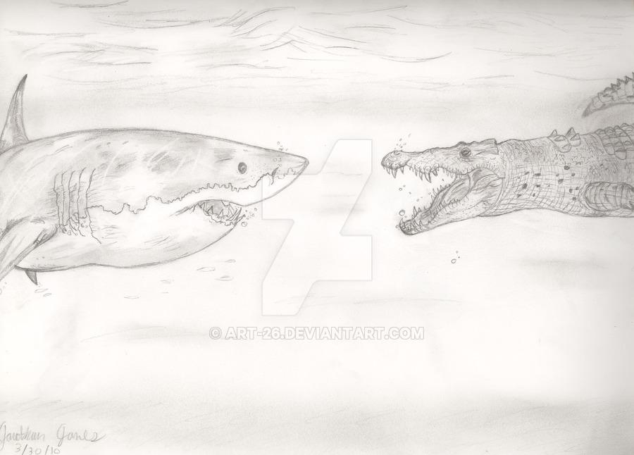 Drawn shark crocodile Art on Great 26 by