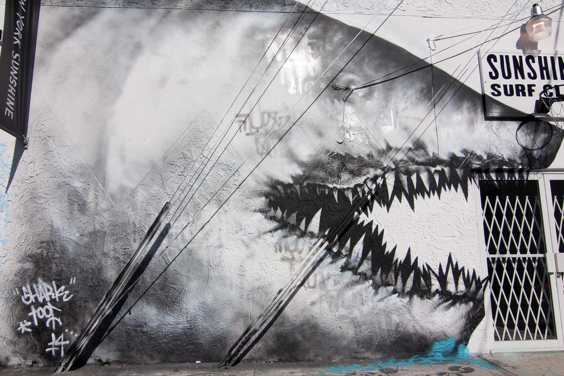 Drawn shark graffiti Is hand iconic the Wynwood