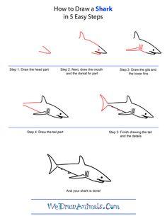 Drawn shark great white shark Draw lessons shark Pinterest how