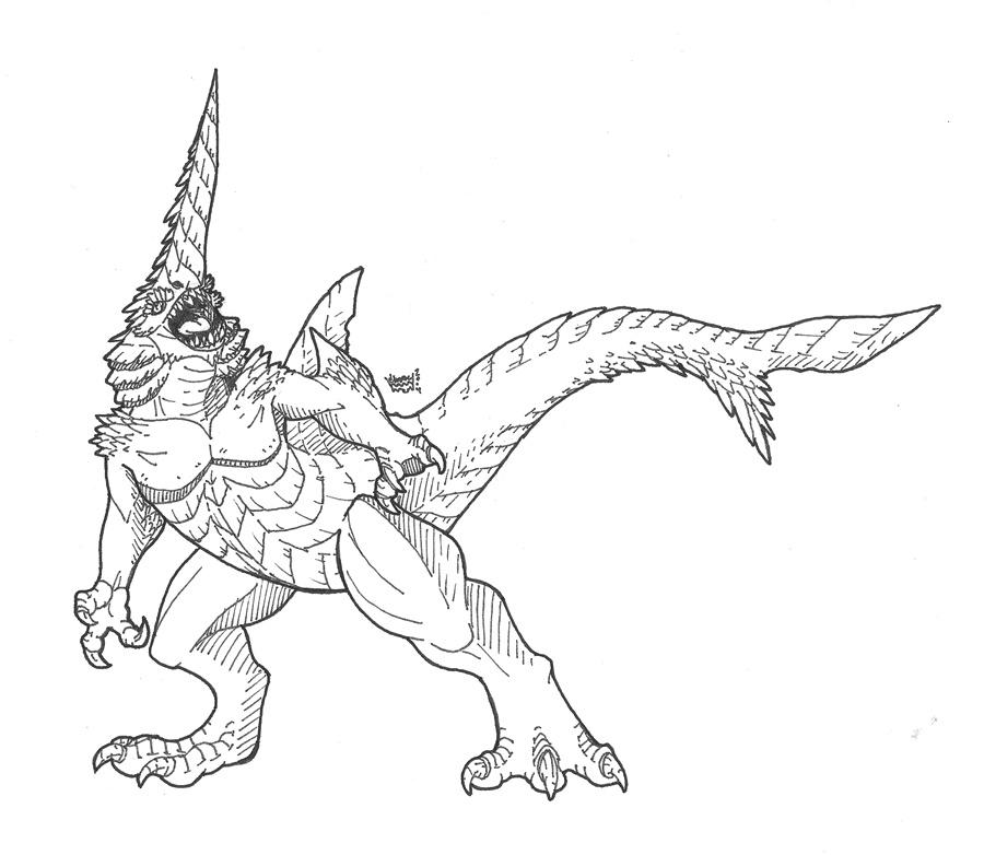 Drawn shark symbol Shark Kaiju Combat Sword by