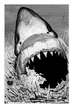 Drawn shark pen and ink Pen and