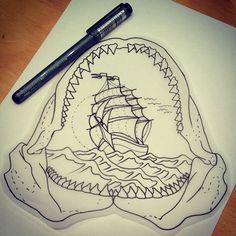 Drawn shark skull Shark Tattoo result drawing etching
