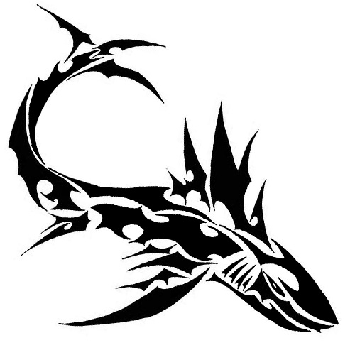 Drawn shark stencil 70 Shark Attractive Black Meanings
