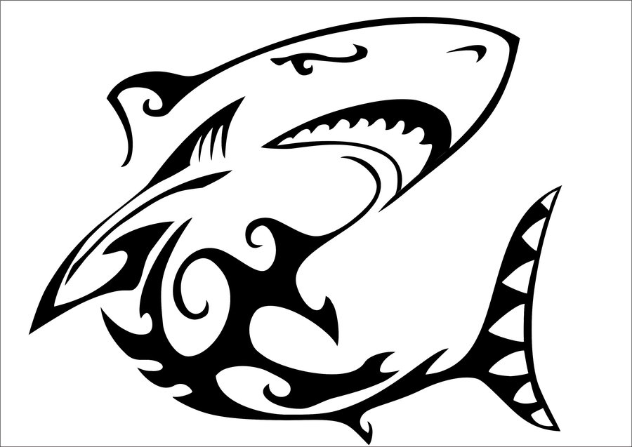 Drawn shark stencil 62 Shark Wonderful Black Tribal