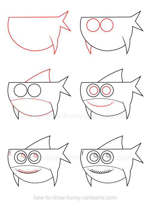 Drawn shark step by step Shark draw a draw to