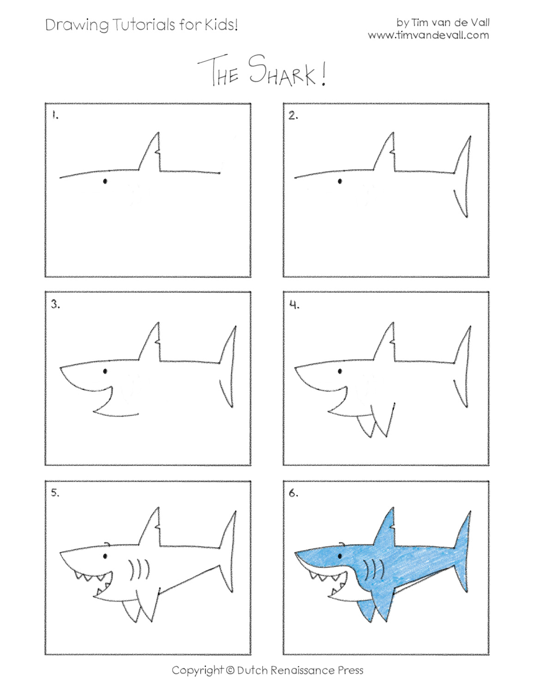 Drawn shark step by step Jpeg Drawing a Tutorials Printable