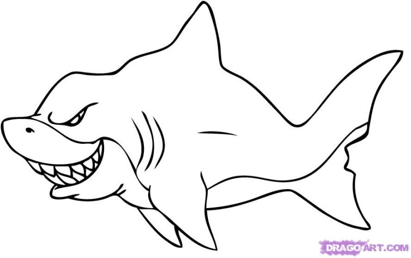 Drawn shark trick Coloring Drawings Draw To Large