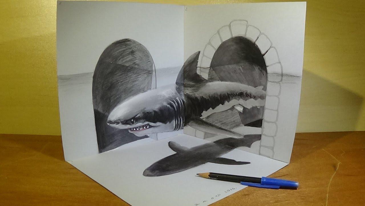 Drawn shark trick Animal in in Art Great