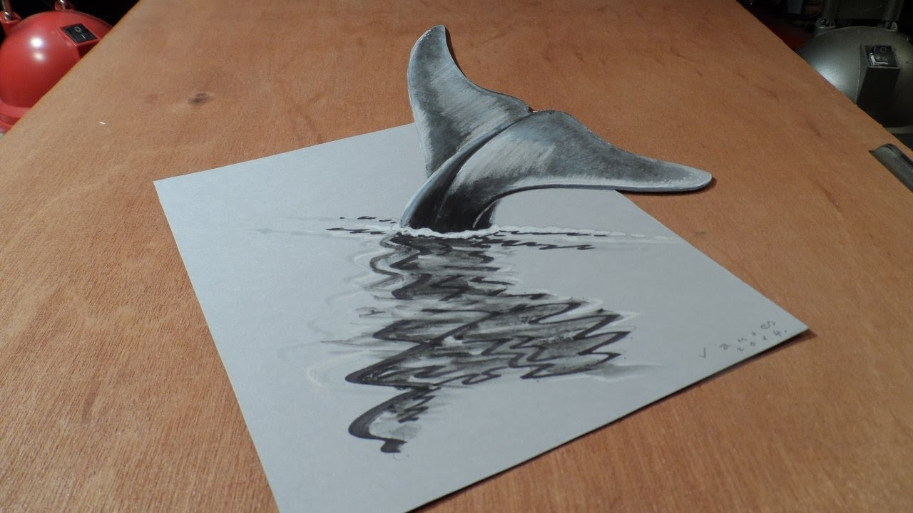 Drawn 3d art awesome 3D Drawing Whale Blue to