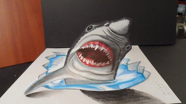 Drawn shark vamos  Great Shark dreadful 3D
