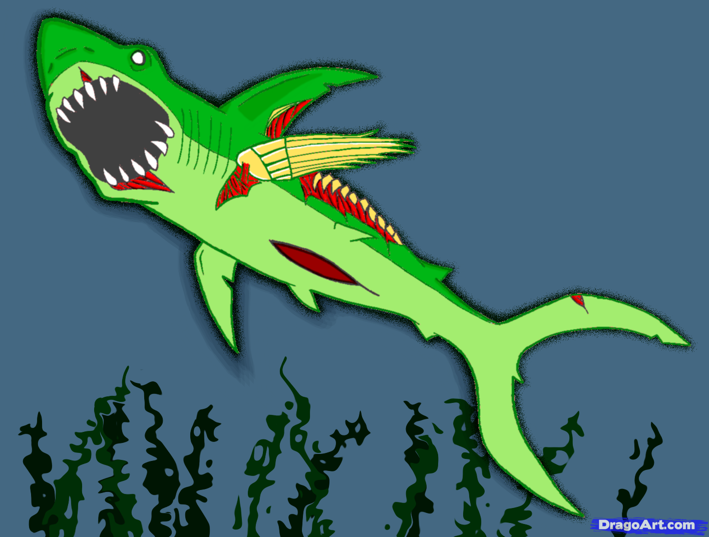 Drawn shark zombie shark How shark Zombies  Zombie