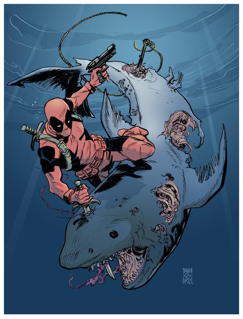 Drawn shark zombie shark Deadpool deankotz by VS Zombie