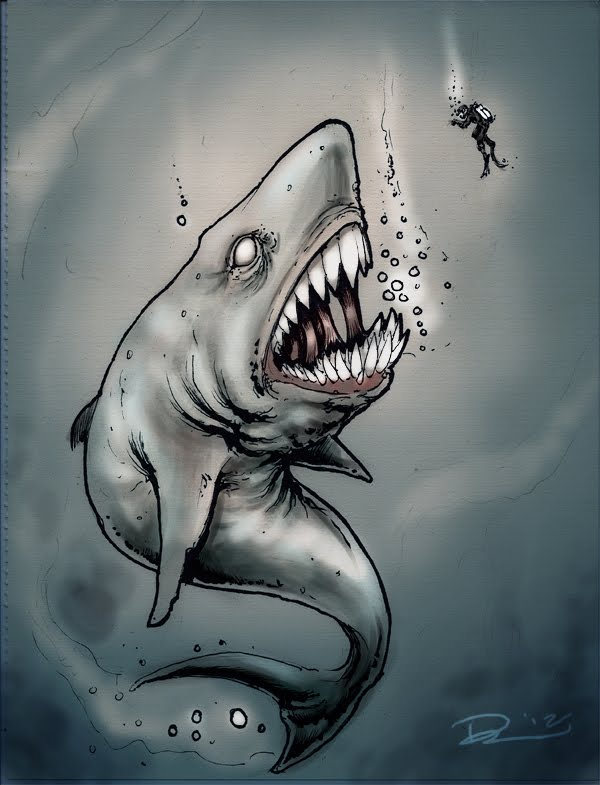 Drawn shark zombie shark HOORAY Silva Week!!!! For Shark