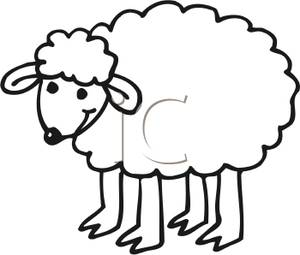 Drawn sheep cartoon black and white White Clipart Vector Clipart of