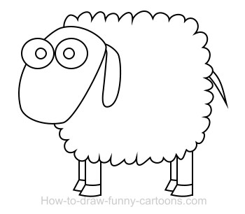 Drawn sheep cartoon black and white Sheep sheep Drawing cartoon cartoon