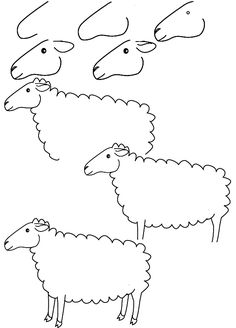 Drawn sheep face Sheep painting Lessons step draw