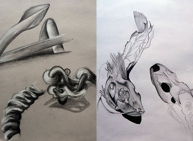 Drawn anchor pencil drawing GCSE drawing page Art sketchbook