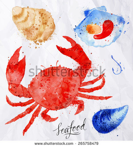 Drawn shell red Crab watercolor oysters drawn hook