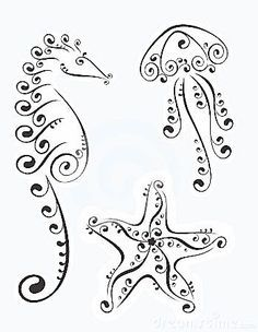 Drawn shell simple Mermaids mania jellyfish and on
