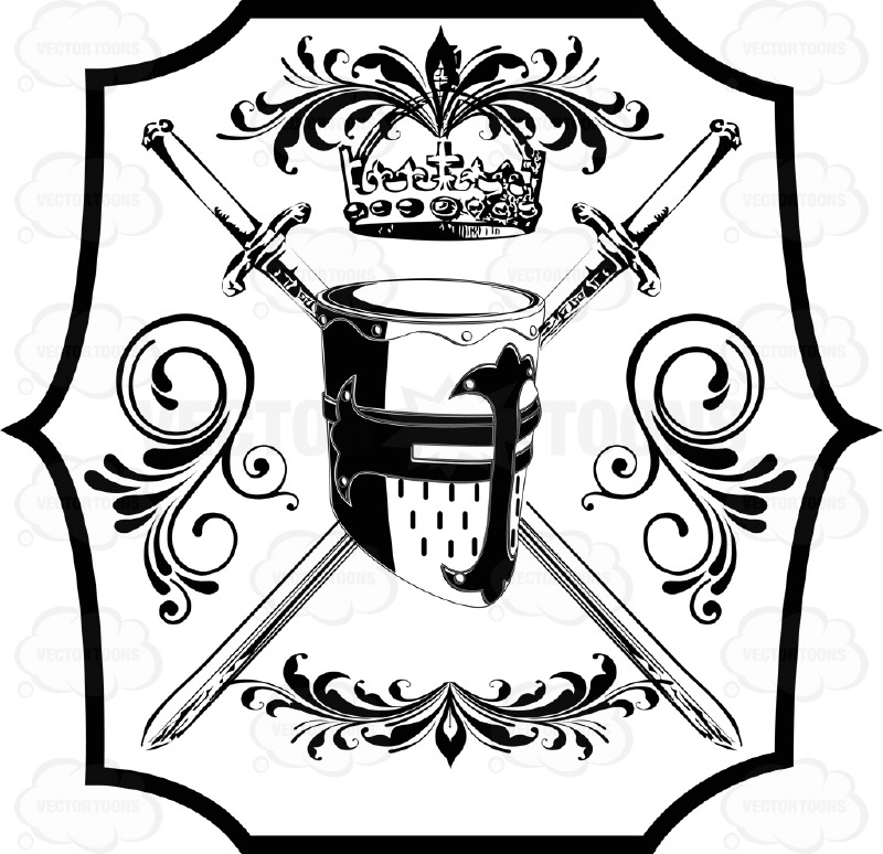 Drawn shield black and white With Plaque Arms Cartoon Swords
