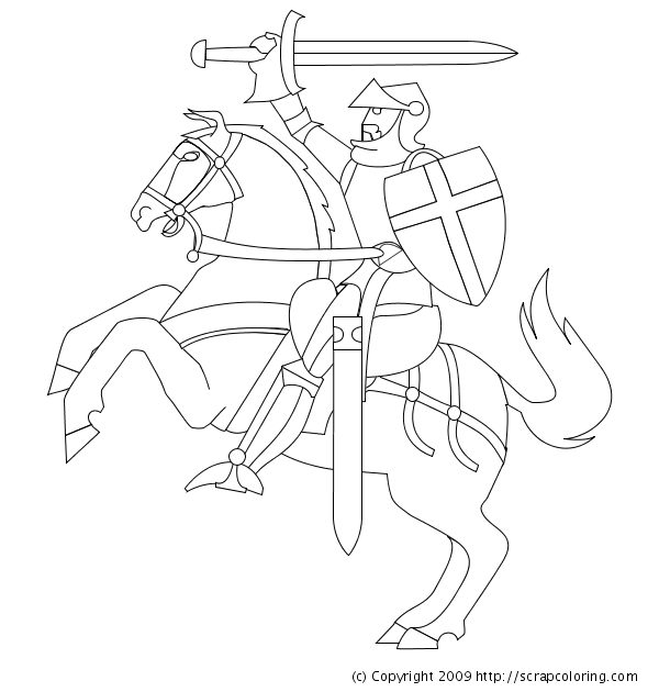 Drawn night squire Coloring Try Pages Knight Horse