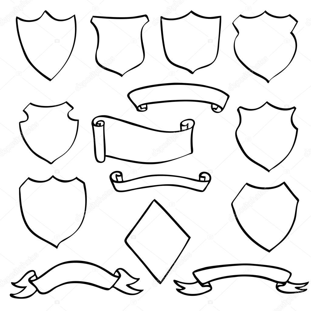 Drawn shield hand drawn Vector drawn scroll Stock shields
