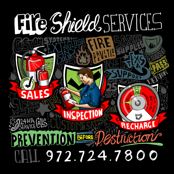 Drawn shield personal Services Fire for  Services