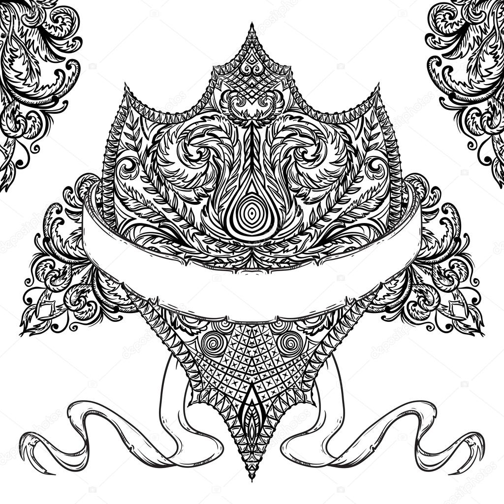 Drawn shield ribbon  banner detailed shield medieval
