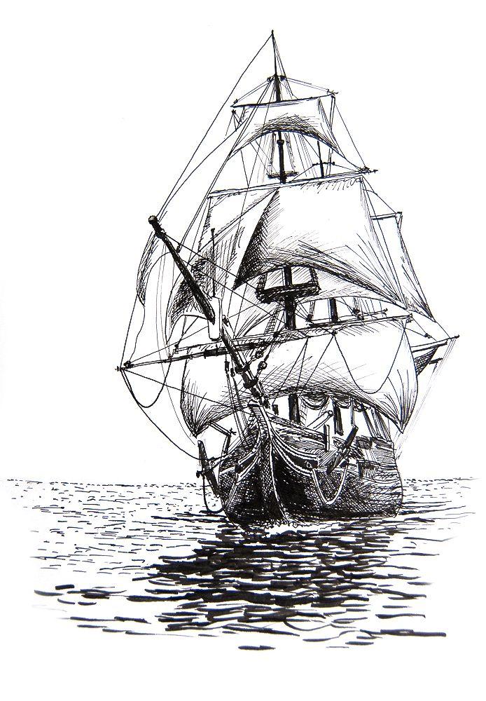 Drawn ship Anatomical drawing drawing on Ship
