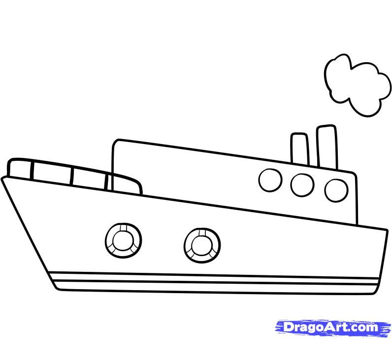Drawn ship How draw 5 to step