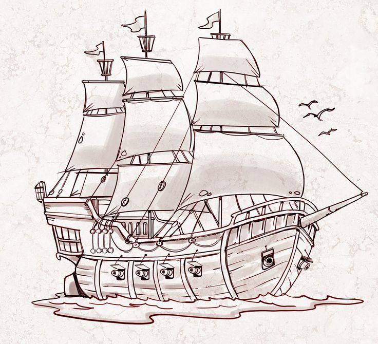 Drawn ship Pirate a How Draw a
