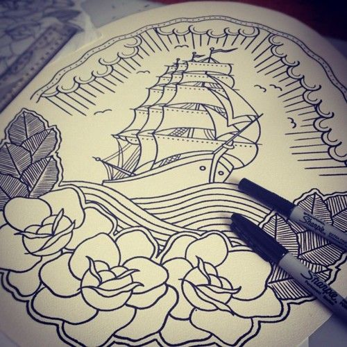 Drawn ship american traditional Images 224 best on tattoos