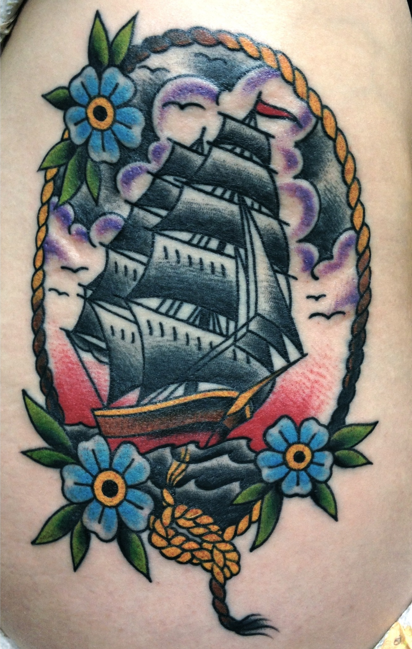 Drawn ship american traditional Tattoo Close My Eyes Can't