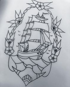 Drawn ship american traditional  /roses tattoo Traditional horseshoe