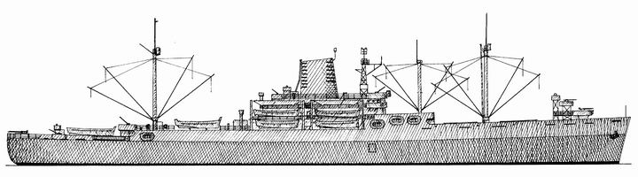 Drawn ship cargo boat Contract for Ingalls was be